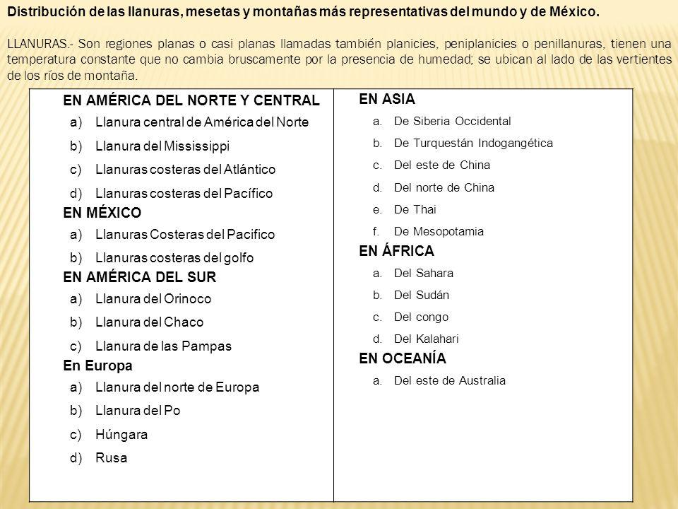 Distribución de las llanuras, mesetas y montañas más representativas del mundo y de México. LLANURAS.- Son regiones planas o casi planas llamadas tamb