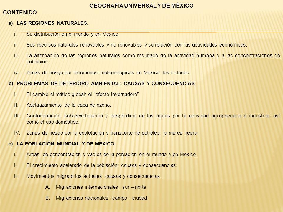 GEOGRAFÍA UNIVERSAL Y DE MÉXICO CONTENIDO a)LAS REGIONES NATURALES. i.Su distribución en el mundo y en México. ii.Sus recursos naturales renovables y
