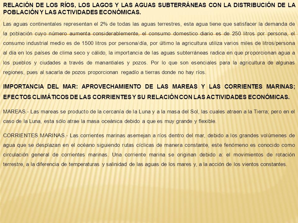 RELACIÓN DE LOS RÍOS, LOS LAGOS Y LAS AGUAS SUBTERRÁNEAS CON LA DISTRIBUCIÓN DE LA POBLACIÓN Y LAS ACTIVIDADES ECONÓMICAS. Las aguas continentales rep