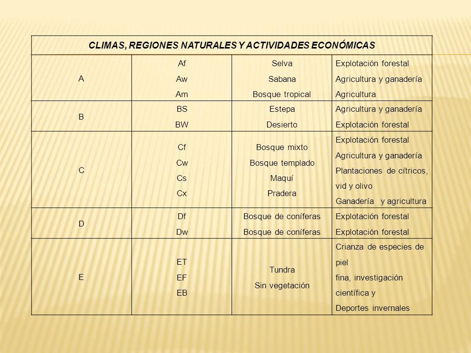CLIMAS, REGIONES NATURALES Y ACTIVIDADES ECONÓMICAS A Af Aw Am Selva Sabana Bosque tropical Explotación forestal Agricultura y ganadería Agricultura B