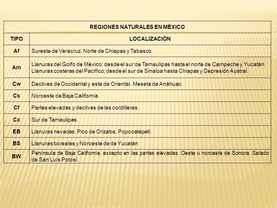 REGIONES NATURALES EN MÉXICO TIPOLOCALIZACIÓN AfSureste de Veracruz. Norte de Chiapas y Tabasco. Am Llanuras del Golfo de México; desde el sur de Tama