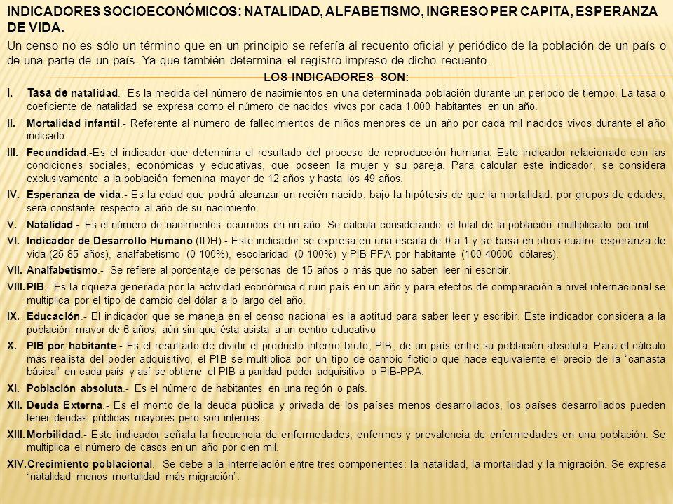 INDICADORES SOCIOECONÓMICOS: NATALIDAD, ALFABETISMO, INGRESO PER CAPITA, ESPERANZA DE VIDA. Un censo no es sólo un término que en un principio se refe