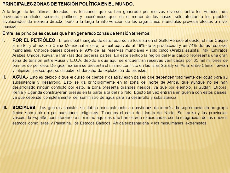 PRINCIPALES ZONAS DE TENSIÓN POLÍTICA EN EL MUNDO. A lo largo de las últimas décadas, las tensiones que se han generado por motivos diversos entre los