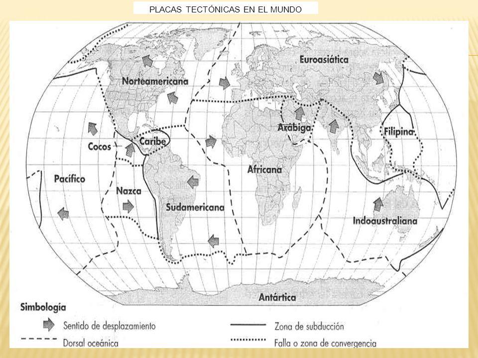 Zonas de riesgo volcánico y sísmico en el mundo y en México, en relación con las placas tectónicas.