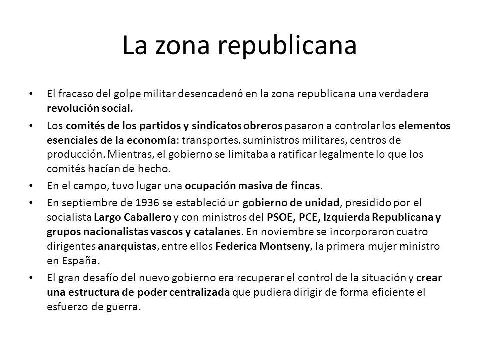 La zona republicana El fracaso del golpe militar desencadenó en la zona republicana una verdadera revolución social. Los comités de los partidos y sin