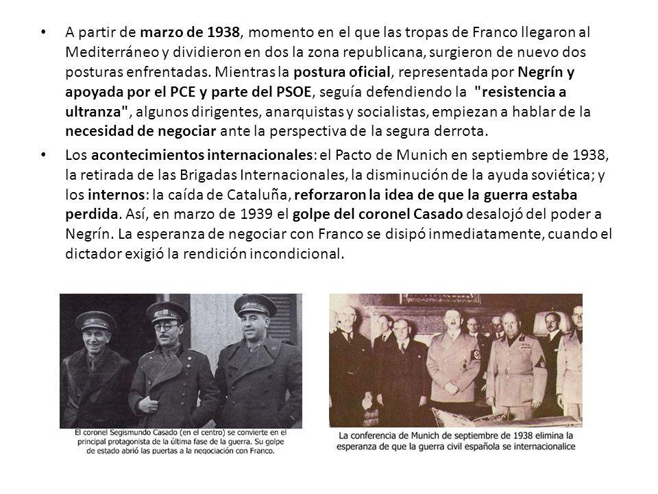 A partir de marzo de 1938, momento en el que las tropas de Franco llegaron al Mediterráneo y dividieron en dos la zona republicana, surgieron de nuevo