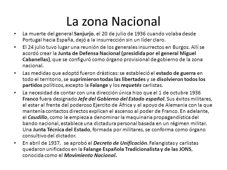 La zona Nacional La muerte del general Sanjurjo, el 20 de julio de 1936 cuando volaba desde Portugal hacia España, dejó a la insurrección sin un líder