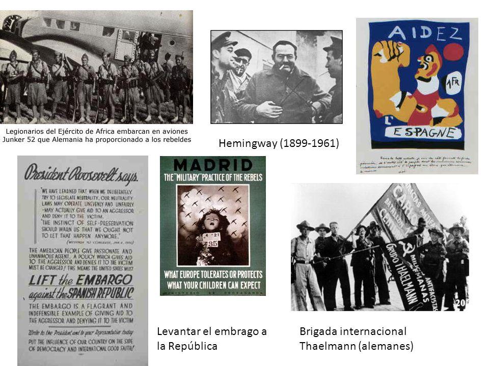 Hemingway (1899-1961) Brigada internacional Thaelmann (alemanes) Levantar el embrago a la República