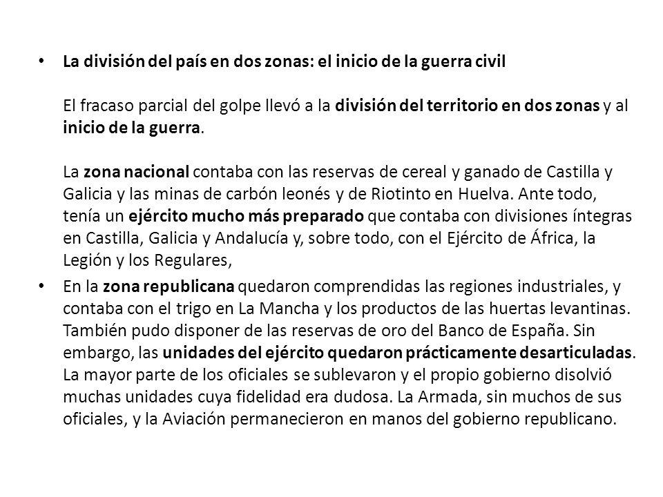 RepúblicaSublevados Capitales de provincia 21 29 Extensión territorial 270.000 km230.000 km Población14.000.00011.000.000 EconomíaSiderurgia, agricultura de exportación, carbón y hierro del norte, industria catalana, mercurio y plomo.
