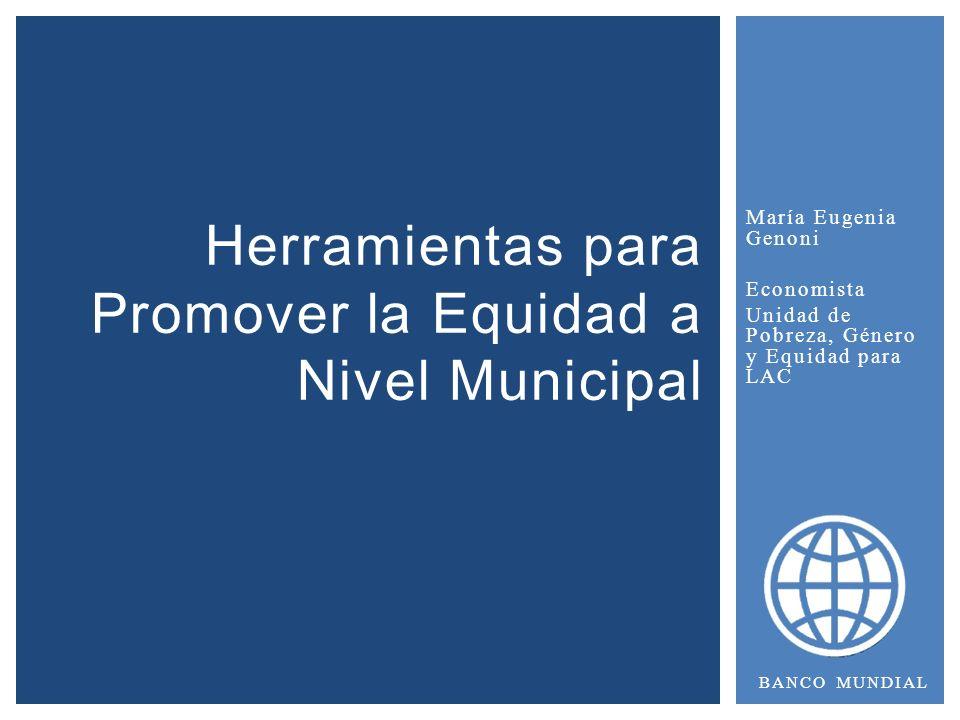 María Eugenia Genoni Economista Unidad de Pobreza, Género y Equidad para LAC Herramientas para Promover la Equidad a Nivel Municipal BANCO MUNDIAL