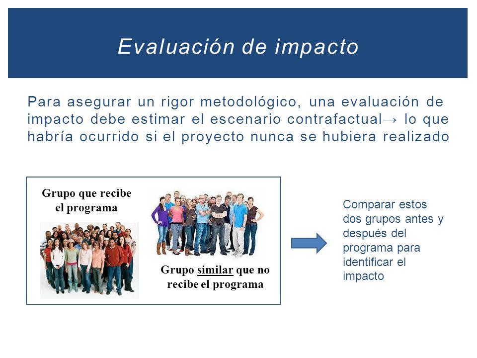 Para asegurar un rigor metodológico, una evaluación de impacto debe estimar el escenario contrafactual lo que habría ocurrido si el proyecto nunca se