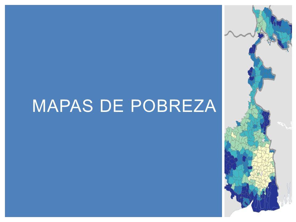 Un mapa de pobreza monetaria muestra la distribución espacial de la población que vive bajo la línea de pobreza Combina información: 1.Censo poblacional 2.Encuesta de hogares que mida ingreso o consumo ¿Qué es un mapa de pobreza?