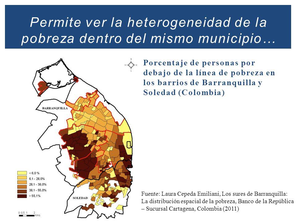 Permite ver la heterogeneidad de la pobreza dentro del mismo municipio… Porcentaje de personas por debajo de la línea de pobreza en los barrios de Bar