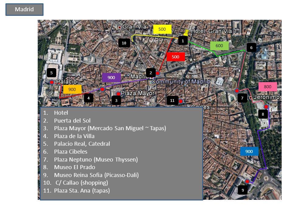 500 600 800 900 1.Hotel 2.Puerta del Sol 3.Plaza Mayor (Mercado San Miguel ~ Tapas) 4.Plaza de la Villa 5.Palacio Real, Catedral 6.Plaza Cibeles 7.Plaza Neptuno (Museo Thyssen) 8.Museo El Prado 9.Museo Reina Sofia (Picasso-Dali) 10.