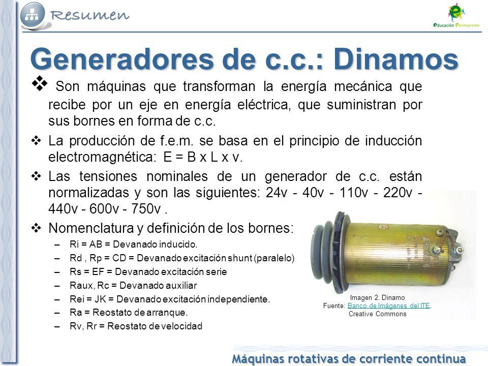 Máquinas rotativas de corriente continua Son máquinas que transforman la energía mecánica que recibe por un eje en energía eléctrica, que suministran por sus bornes en forma de c.c.
