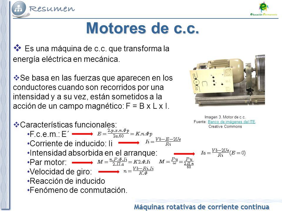 Máquinas rotativas de corriente continua Motores de c.c.