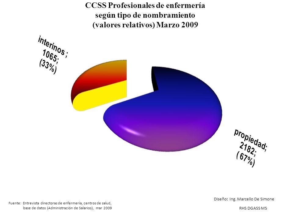 CCSS Profesionales de enfermería según tipo de nombramiento (valores relativos) Marzo 2009 Fuente: Entrevista directoras de enfermería, centros de sal