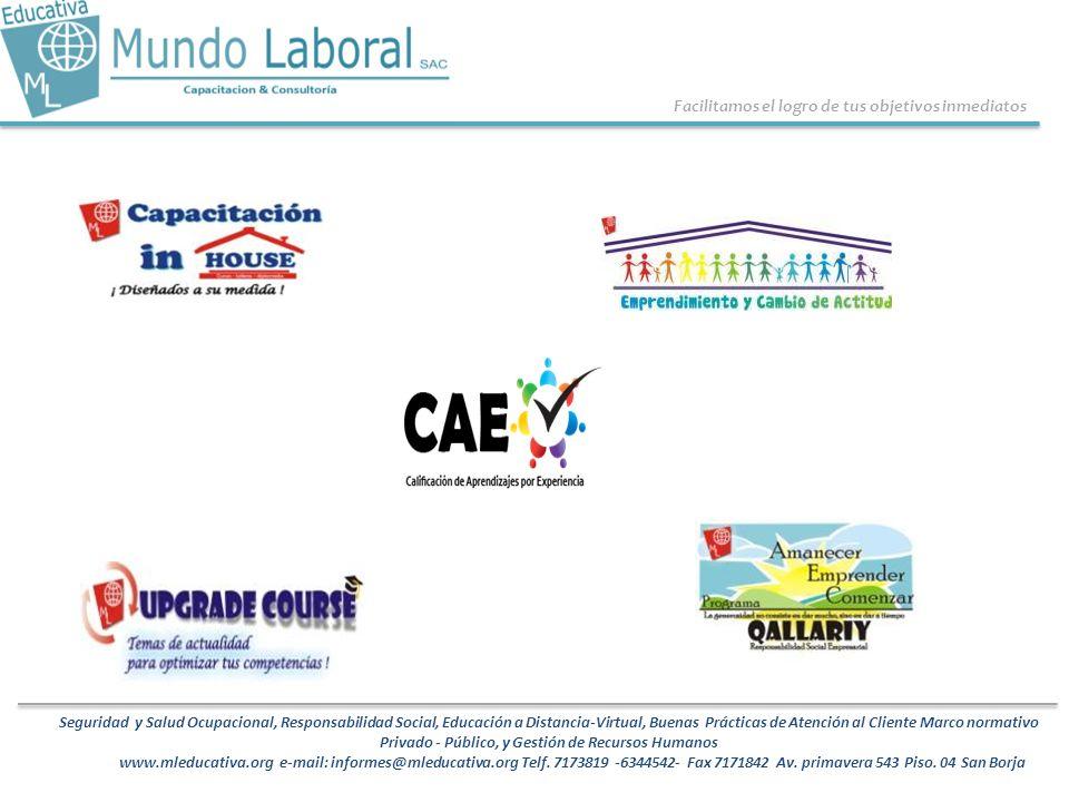 Facilitamos el logro de tus objetivos inmediatos Seguridad y Salud Ocupacional, Responsabilidad Social, Educación a Distancia-Virtual, Buenas Práctica
