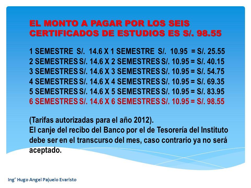 Ing° Hugo Angel Pajuelo Evaristo 1 SEMESTRE S/. 14.6 X 1 SEMESTRE S/. 10.95 = S/. 25.55 2 SEMESTRES S/. 14.6 X 2 SEMESTRES S/. 10.95 = S/. 40.15 3 SEM