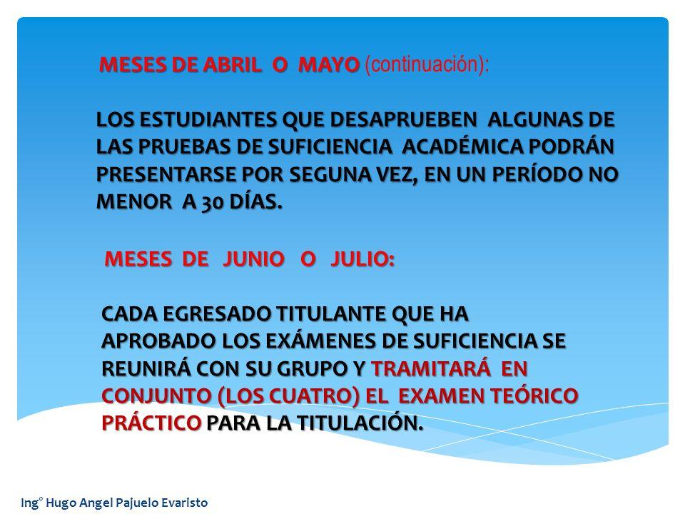 Ing° Hugo Angel Pajuelo Evaristo MESES DE ABRIL O MAYO MESES DE ABRIL O MAYO (continuación): LOS ESTUDIANTES QUE DESAPRUEBEN ALGUNAS DE LOS ESTUDIANTE