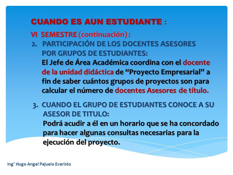Ing° Hugo Angel Pajuelo Evaristo CUANDO ES AUN ESTUDIANTE: VI SEMESTRE VI SEMESTRE (continuación) : 4.