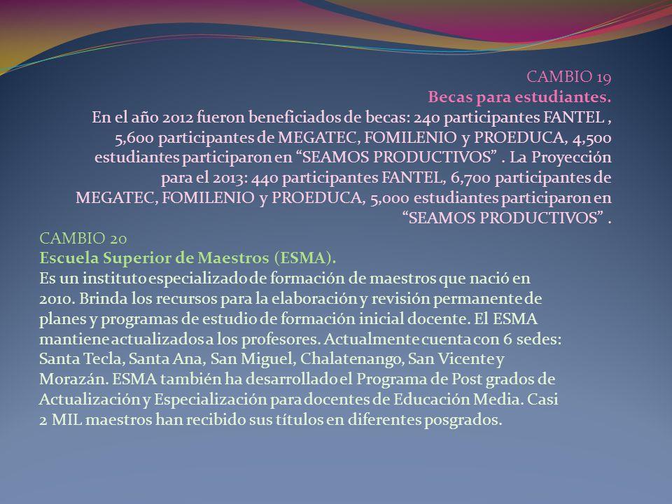 CAMBIO 19 Becas para estudiantes. En el año 2012 fueron beneficiados de becas: 240 participantes FANTEL, 5,600 participantes de MEGATEC, FOMILENIO y P