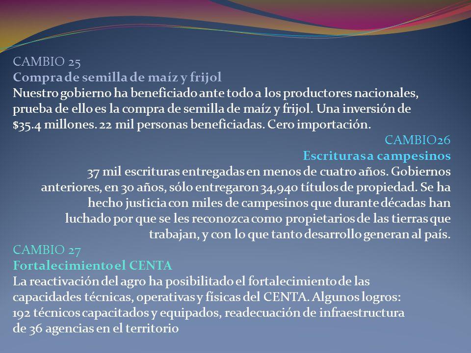 CAMBIO 25 Compra de semilla de maíz y frijol Nuestro gobierno ha beneficiado ante todo a los productores nacionales, prueba de ello es la compra de se