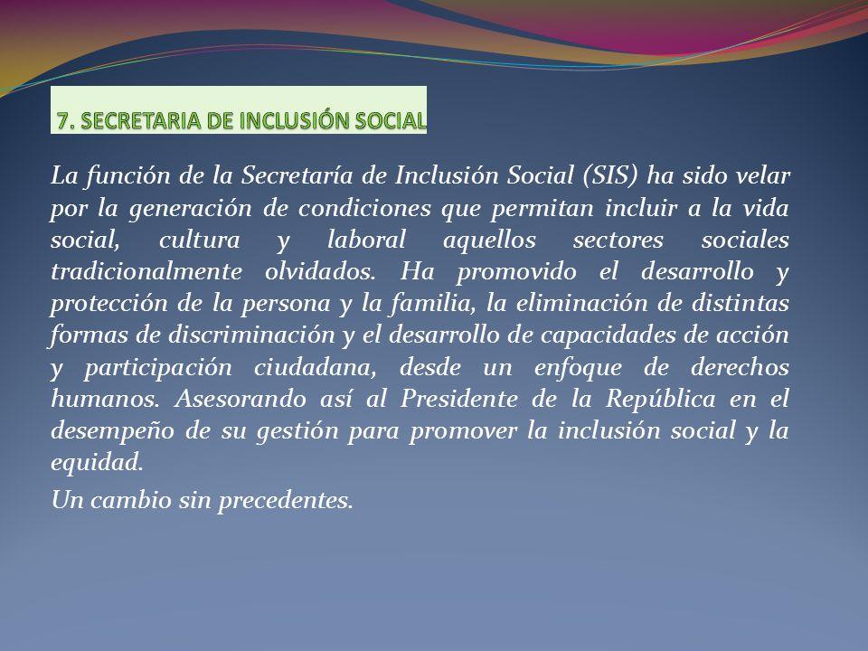 La función de la Secretaría de Inclusión Social (SIS) ha sido velar por la generación de condiciones que permitan incluir a la vida social, cultura y