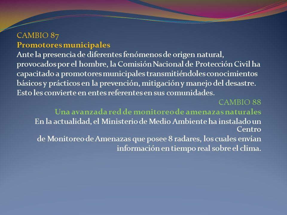 CAMBIO 87 Promotores municipales Ante la presencia de diferentes fenómenos de origen natural, provocados por el hombre, la Comisión Nacional de Protec