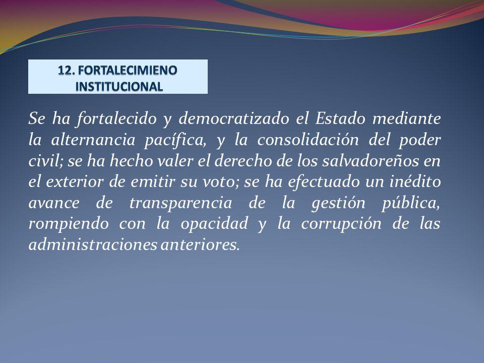 Se ha fortalecido y democratizado el Estado mediante la alternancia pacífica, y la consolidación del poder civil; se ha hecho valer el derecho de los