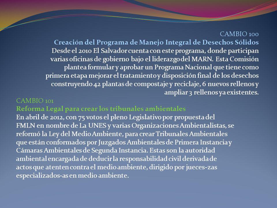 CAMBIO 100 Creación del Programa de Manejo Integral de Desechos Sólidos Desde el 2010 El Salvador cuenta con este programa, donde participan varias of
