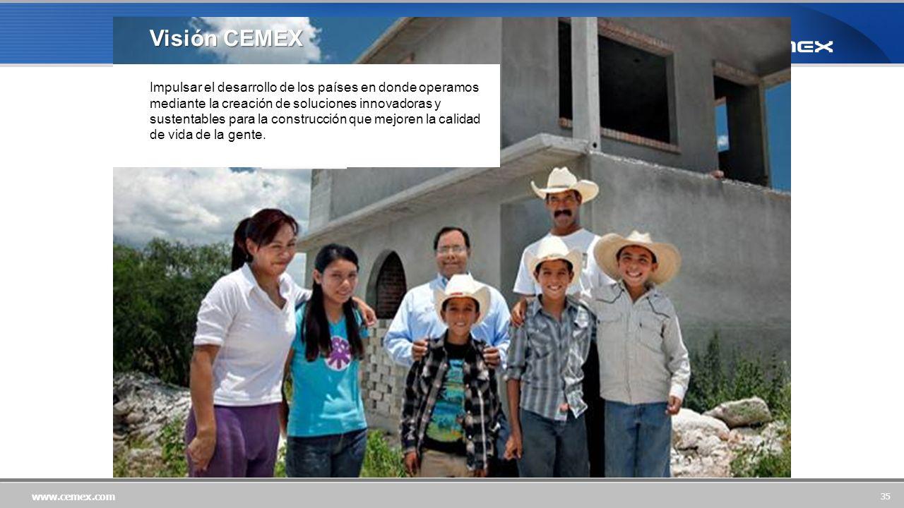 35 www.cemex.com Impulsar el desarrollo de los países en donde operamos mediante la creación de soluciones innovadoras y sustentables para la construcción que mejoren la calidad de vida de la gente.