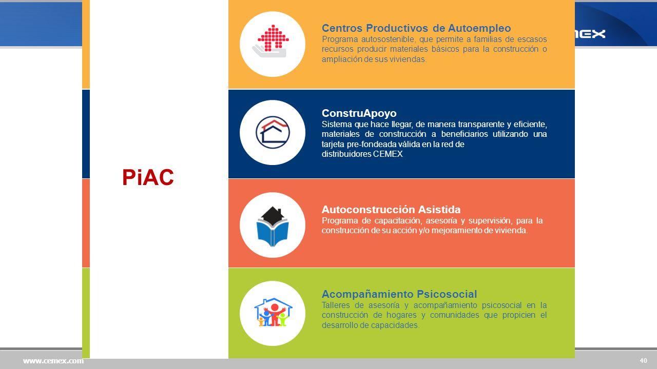 40 www.cemex.com Centros Productivos de Autoempleo Programa autosostenible, que permite a familias de escasos recursos producir materiales básicos para la construcción o ampliación de sus viviendas.