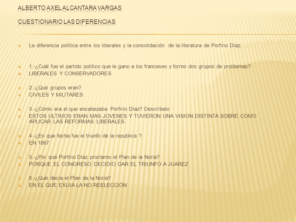La diferencia política entre los liberales y la consolidación de la literatura de Porfirio Díaz. 1.-¿Cuál fue el partido político que le gano a los fr