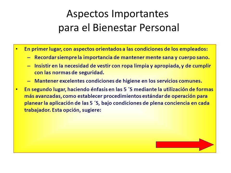 Aspectos Importantes para el Bienestar Personal En primer lugar, con aspectos orientados a las condiciones de los empleados: – Recordar siempre la imp