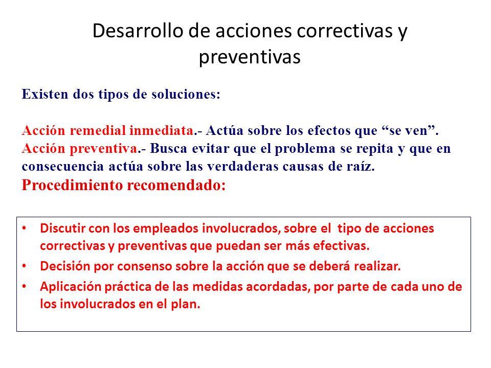 Desarrollo de acciones correctivas y preventivas Discutir con los empleados involucrados, sobre el tipo de acciones correctivas y preventivas que pued