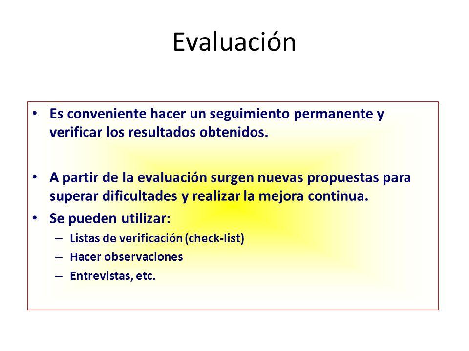 Evaluación Es conveniente hacer un seguimiento permanente y verificar los resultados obtenidos. A partir de la evaluación surgen nuevas propuestas par