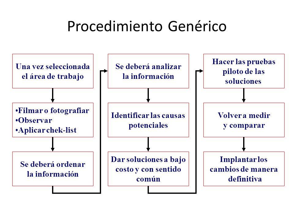 Procedimiento Genérico Una vez seleccionada el área de trabajo Filmar o fotografiar Observar Aplicar chek-list Se deberá ordenar la información Se deb