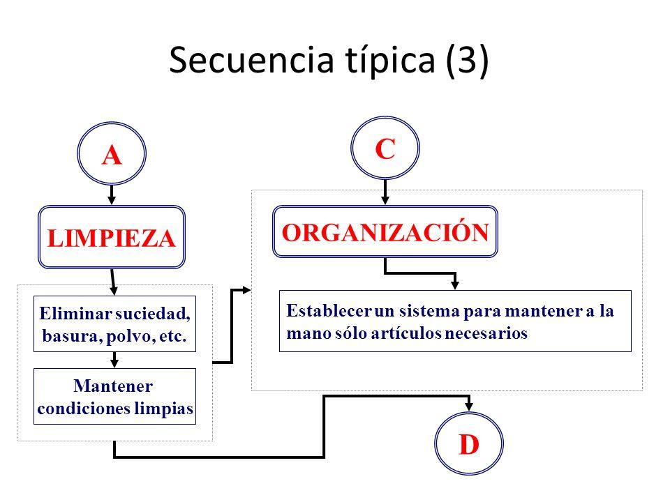 Secuencia típica (3) A LIMPIEZA Eliminar suciedad, basura, polvo, etc. Mantener condiciones limpias C ORGANIZACIÓN Establecer un sistema para mantener