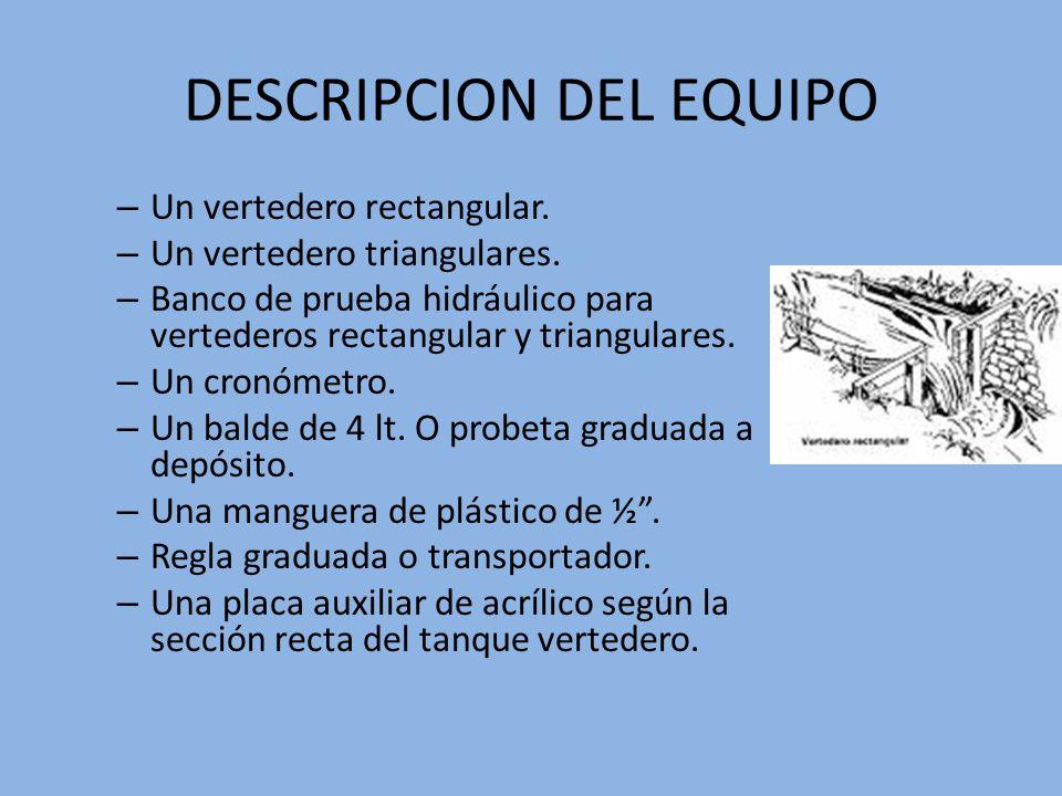 DESCRIPCION DEL EQUIPO – Un vertedero rectangular. – Un vertedero triangulares. – Banco de prueba hidráulico para vertederos rectangular y triangulare
