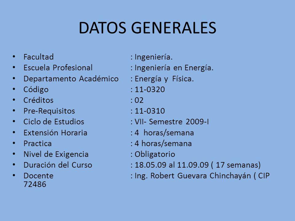 DATOS GENERALES Facultad: Ingeniería. Escuela Profesional: Ingeniería en Energía. Departamento Académico : Energía y Física. Código: 11-0320 Créditos: