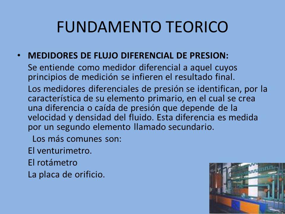 FUNDAMENTO TEORICO MEDIDORES DE FLUJO DIFERENCIAL DE PRESION: Se entiende como medidor diferencial a aquel cuyos principios de medición se infieren el