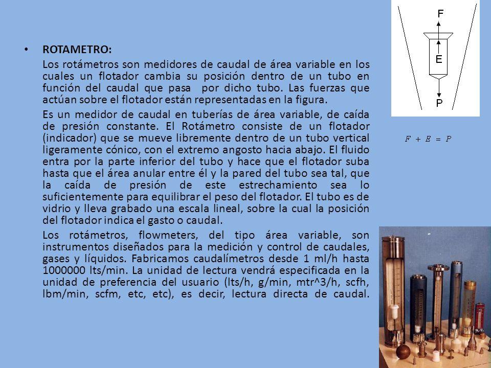 ROTAMETRO: Los rotámetros son medidores de caudal de área variable en los cuales un flotador cambia su posición dentro de un tubo en función del cauda