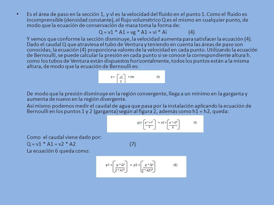 Es el área de paso en la sección 1, y vl es la velocidad del fluido en el punto 1. Como el fluido es incomprensible (densidad constante), el flujo vol