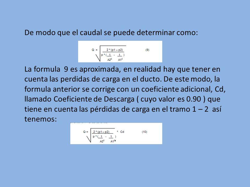 De modo que el caudal se puede determinar como: La formula 9 es aproximada, en realidad hay que tener en cuenta las perdidas de carga en el ducto. De