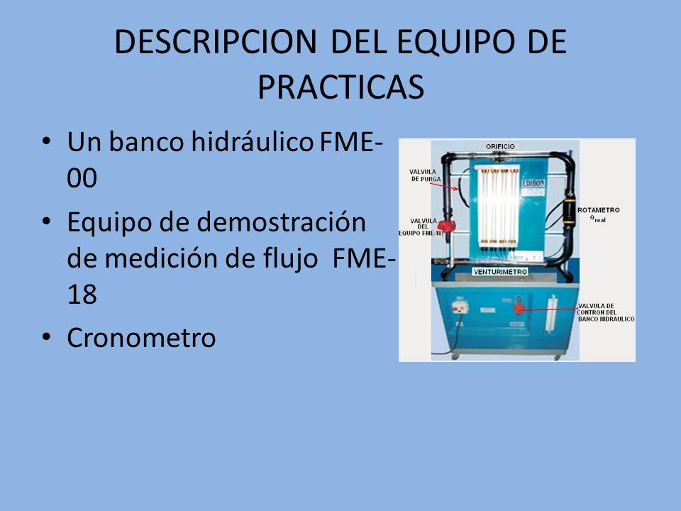 DESCRIPCION DEL EQUIPO DE PRACTICAS Un banco hidráulico FME- 00 Equipo de demostración de medición de flujo FME- 18 Cronometro