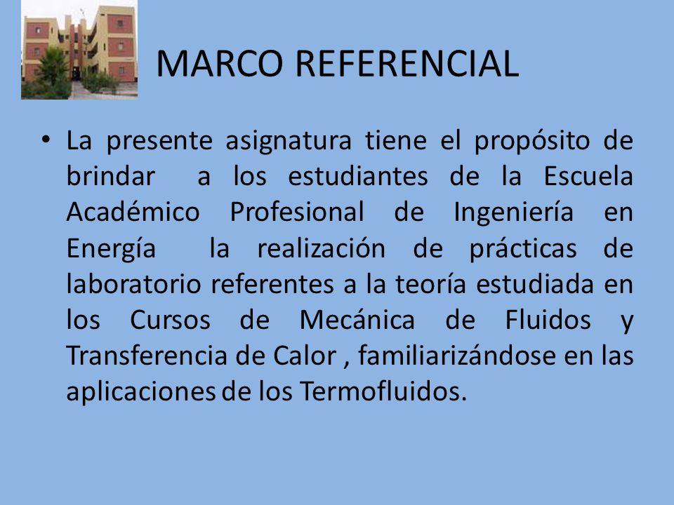 MARCO REFERENCIAL La presente asignatura tiene el propósito de brindar a los estudiantes de la Escuela Académico Profesional de Ingeniería en Energía