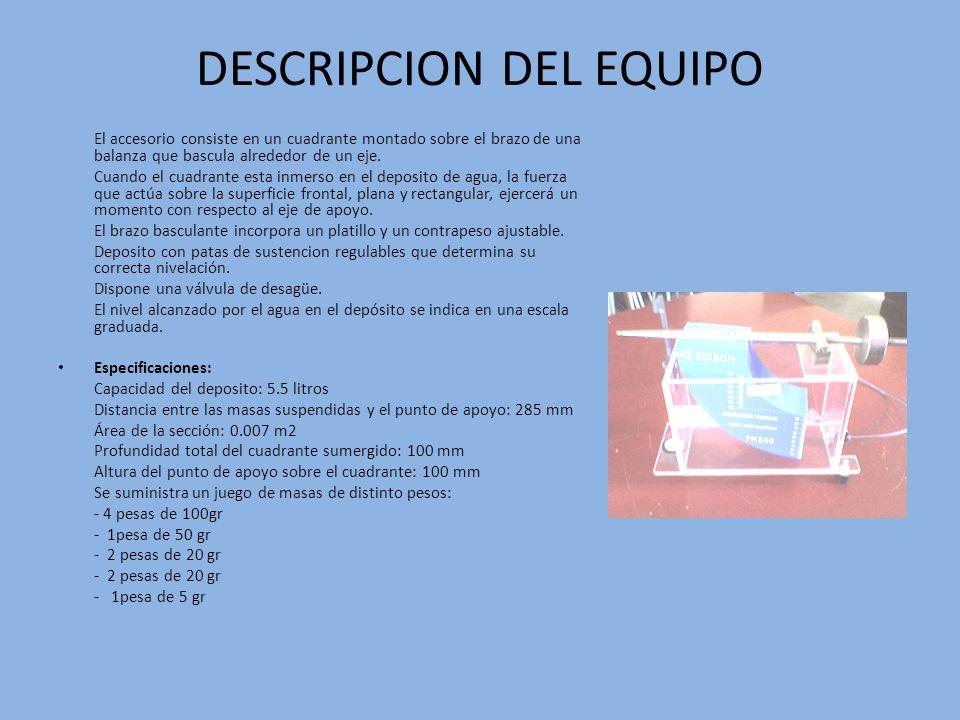 DESCRIPCION DEL EQUIPO El accesorio consiste en un cuadrante montado sobre el brazo de una balanza que bascula alrededor de un eje. Cuando el cuadrant