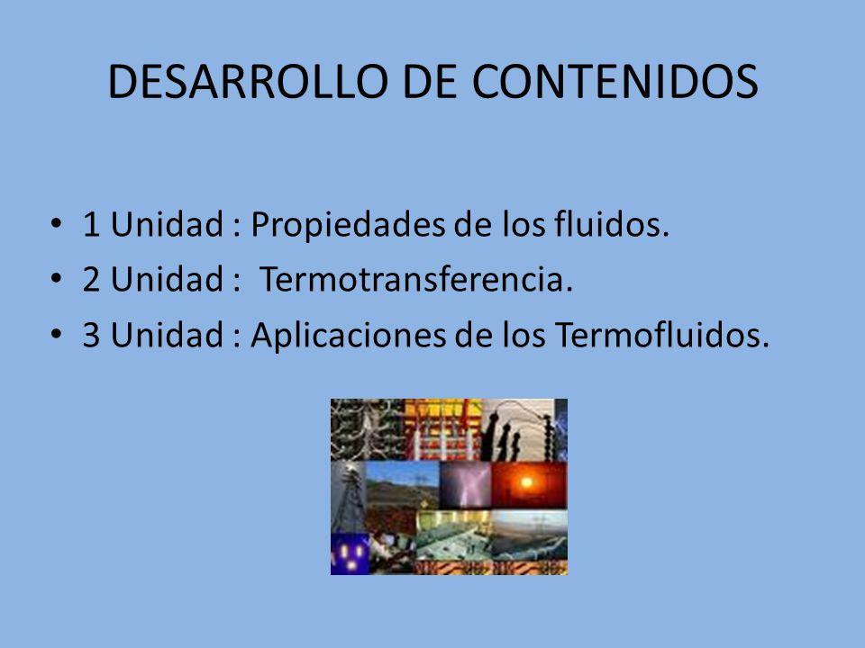 DESARROLLO DE CONTENIDOS 1 Unidad : Propiedades de los fluidos. 2 Unidad : Termotransferencia. 3 Unidad : Aplicaciones de los Termofluidos.