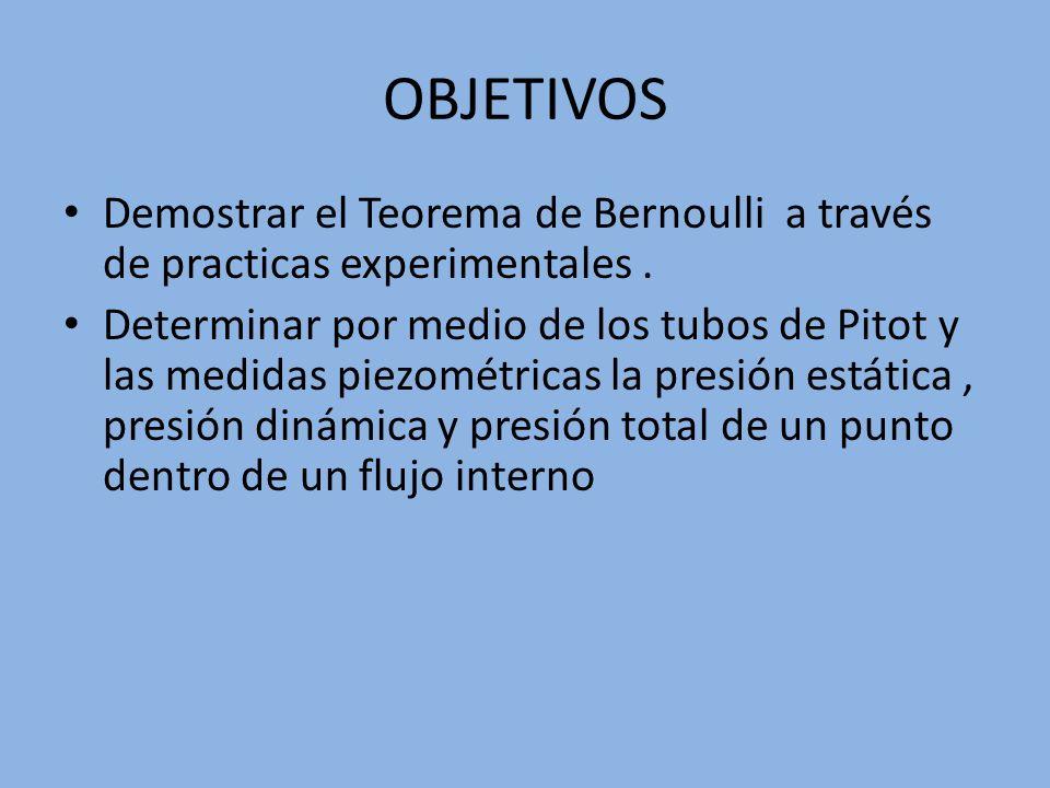 OBJETIVOS Demostrar el Teorema de Bernoulli a través de practicas experimentales. Determinar por medio de los tubos de Pitot y las medidas piezométric